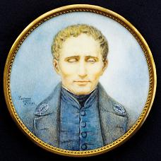 A miniature portrait of Louis Braille by Lucienne Filippi, on ivory.