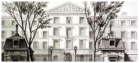 An illustration of the school for the blind that Louis Braille attended.