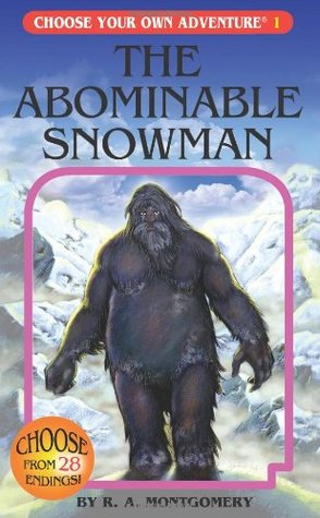 book cover shows the abominable snowman walking in snowy mountaintops