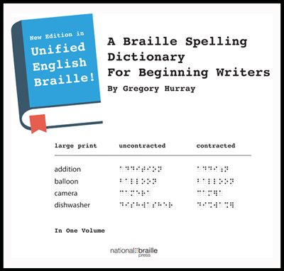 Book cover for Braille Spelling Dictionary.