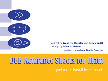 book cover for UEB Reference sheets for math