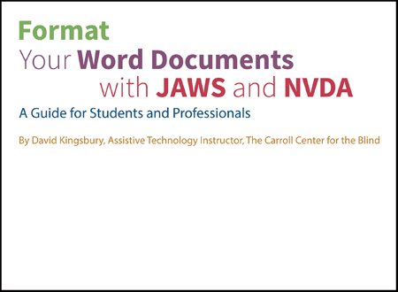 Picture of Format Your Word Documents with JAWS and NVDA