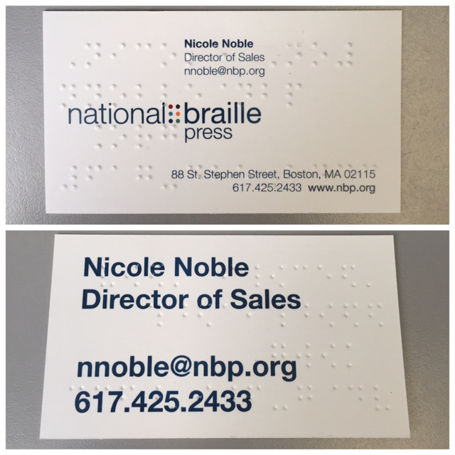 Braille business cards nbp printbraille business cards reheart Gallery