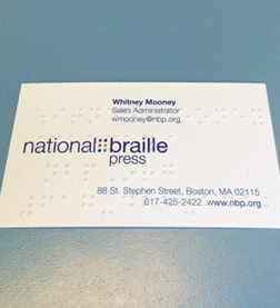 Business card in braille