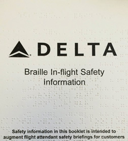 Delta Airlines safety guide in braille