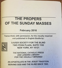 Sunday Mass Propers in braille