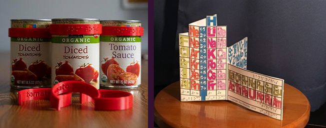 two photos - CanDo labels on tomato sauce can, and the Pocket Braille Periodic Table.