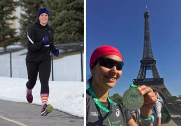 left - photo of char hoyem running on a snowy road. and right - heidi arellano shows her running medal in front of eiffel tower