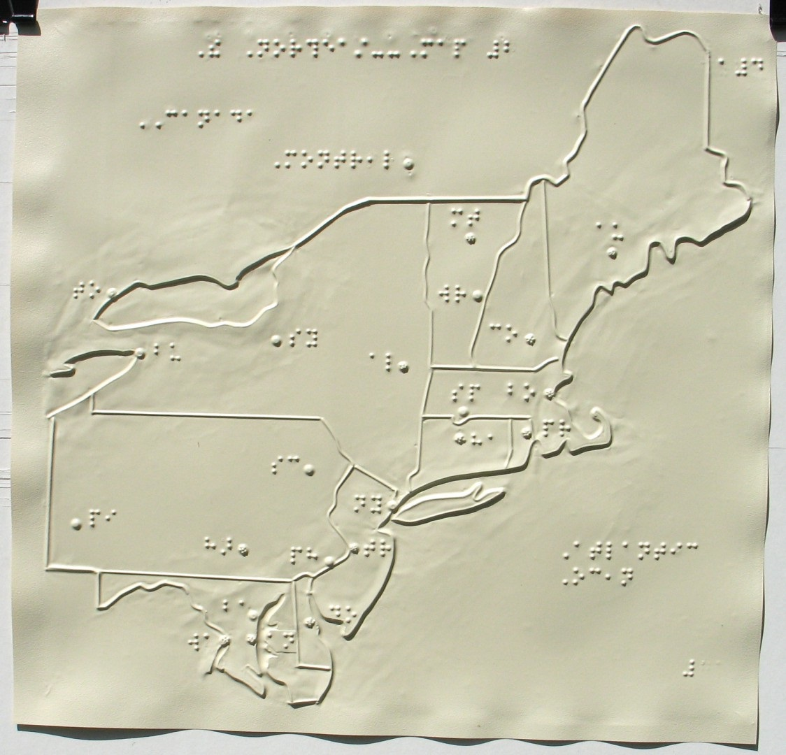 a tactile map of the northeast united states