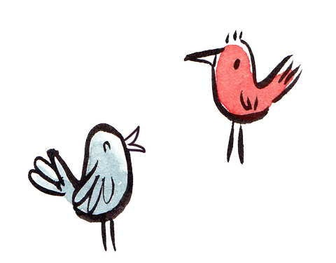 two birds chatting
