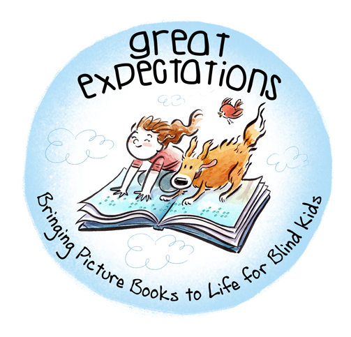 Great Expectations logo, shows a girl and dog flying on a giant braille book
