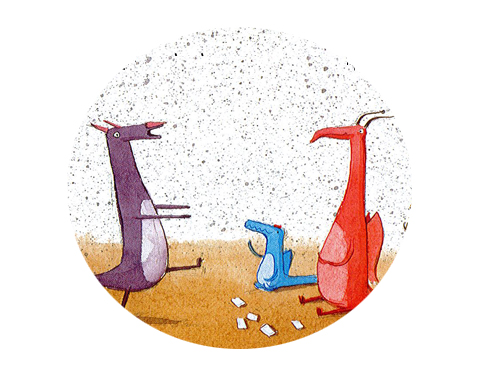 Picture from the book shows dragons playing charades