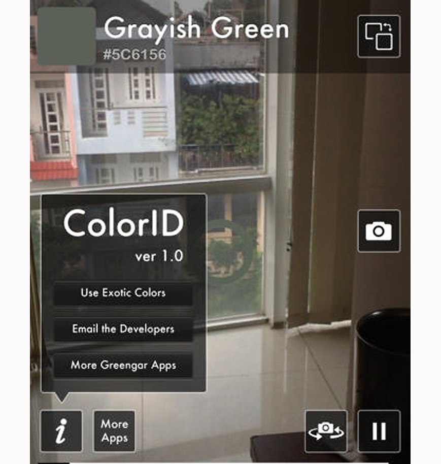 Screen shot from the Color ID app shows a window and identifies a color as grayish green