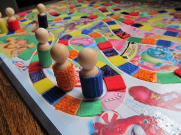 Photo of the accessible Candyland game.