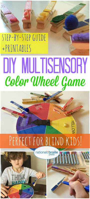 Social media image: Pictures of game, says DIY multisensory color wheel game. Perfect for blind kids! step-by-step guide and printables.