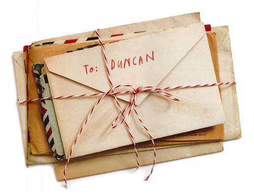 A bundle of letters to Duncan, tied in string, from the book