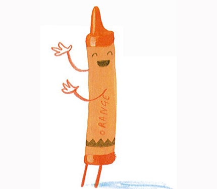 orange crayon appears to be singing