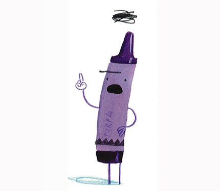purple crayon looks angry with black cloud over his head