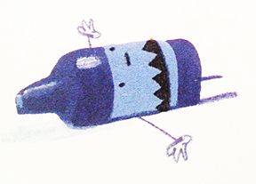 The stubby blue crayon lies on his back.
