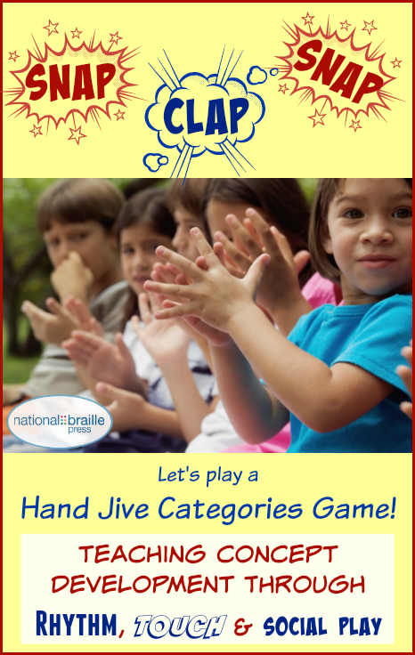 Hand jive clapping game teaches concept development through rhythm, touch and social play.