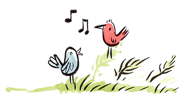 cartoon birds singing on grass