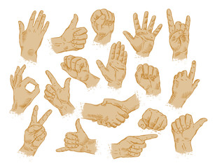 A diagram of hands making different gestures. All clean!