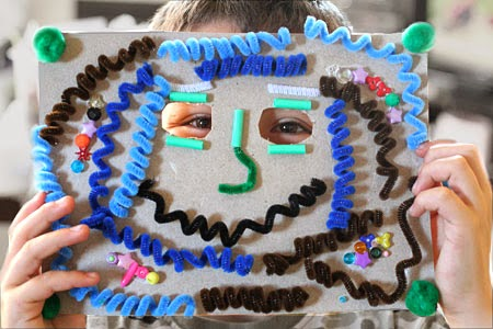 home-made monster mask using tactile pipe cleaners
