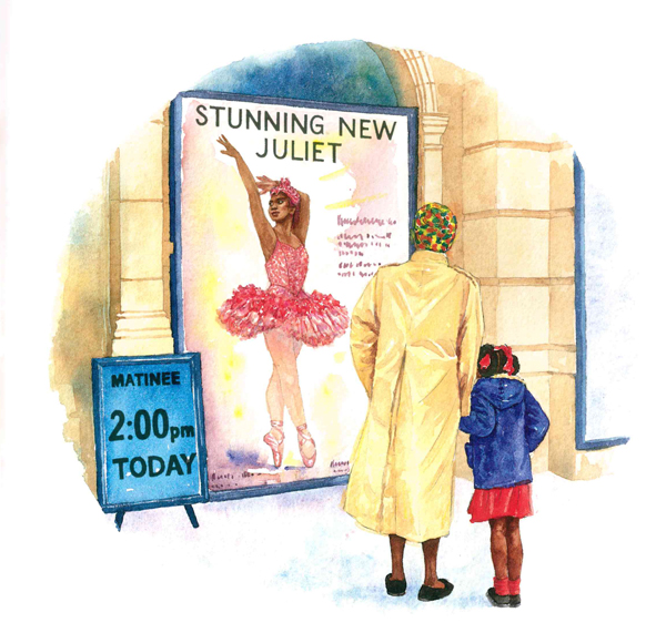 grace and her nana stand in front of the poster outside the ballet