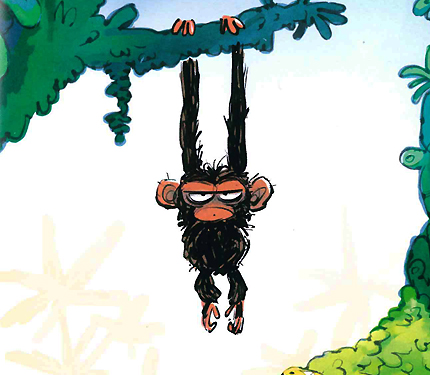 picture from Grumpy Monkey shows Jim Panzee, a small monkey with big ears and messy brown fur, hangs from a branch. He stares straight ahead with a frown on his face. A single eyebrow runs straight above his heavy-lidded eyes.