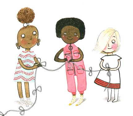 Image from Iggy book: three girls help tie strings together