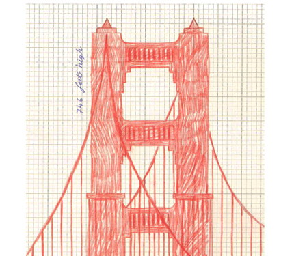 Image from Iggy book: Sketch of Golden Gate Bridge tower.