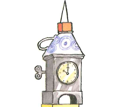 Image from Iggy book: Small clock tower that Iggy built.