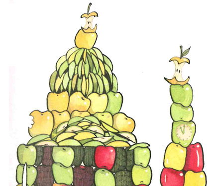 Image from Iggy book: Iggy's fruit building.