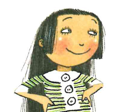 Image from Iggy book: Girl, hands on hips and smiling, gives side-eye, as if at a bad joke.