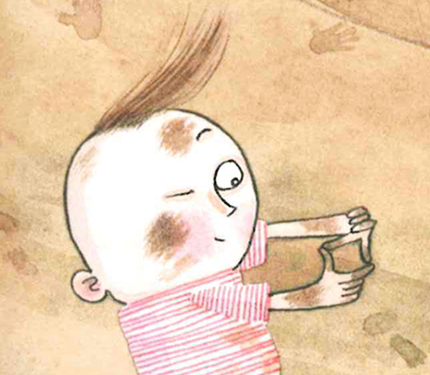 Image from Iggy book: Baby Iggy using hands to frame a scene.