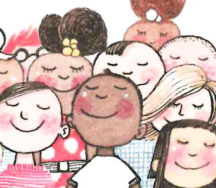 Image from Iggy book: Kids smiling and humming.