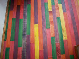 Wooden slats, brightly colored