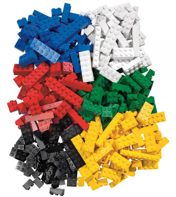 Lego blocks in all colors