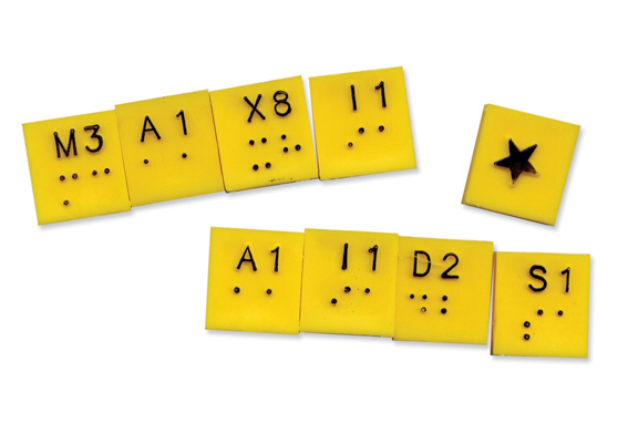 Image of braille letter tiles