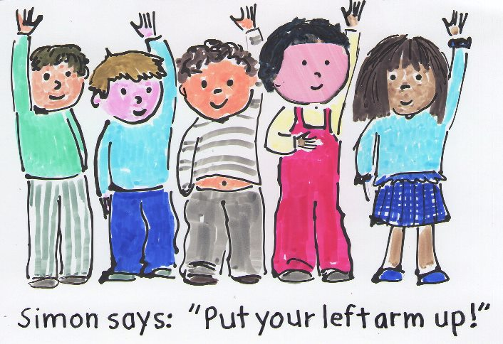 cartoon drawing of kids raising one hand in the air. text says, simon says, put your left armm up.