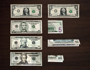different bills folded in different ways.