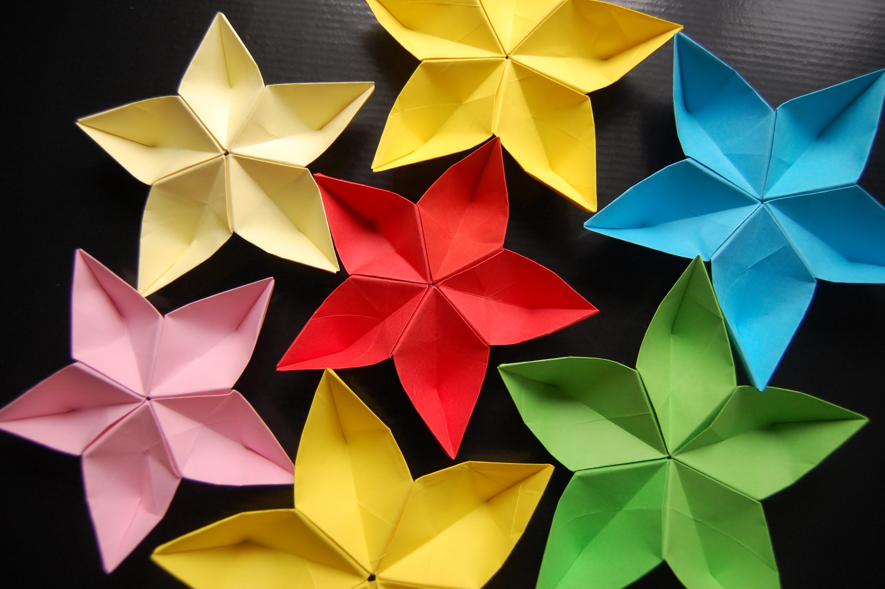 bright origami flowers.