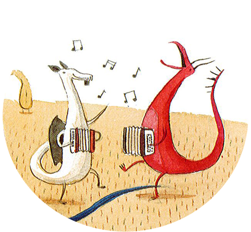Picture from the book shows dragons at an accordion party