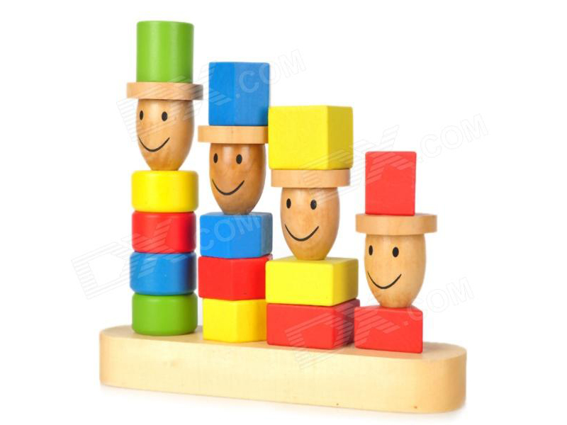 block toy family of four, each a different height