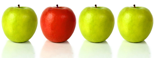 three green and one red apple