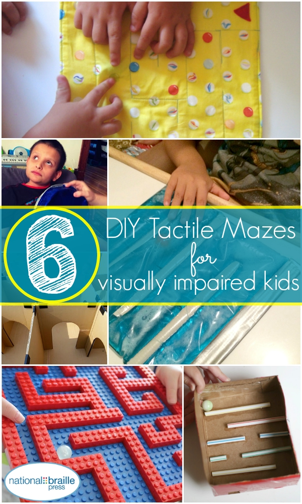 Image shoes all mazes, says '6 DIY tactile mazes for visually-impaired kids