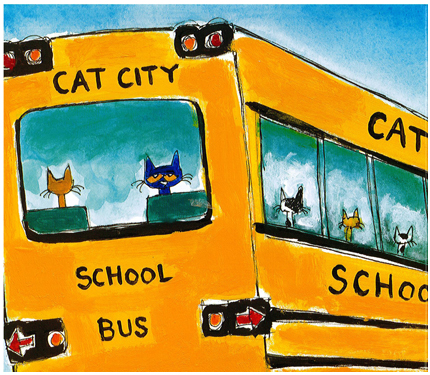Image from Pete book: Pete looks out from the back window of a school bus.