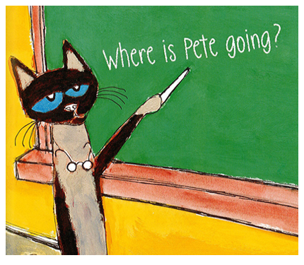 Image from Pete book: Pete's teacher writes on the board, 'Where is Pete Going?'