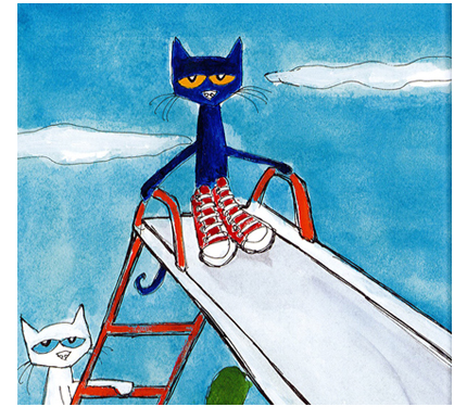 Image from Pete book: Pete sits at the top of a playground slide.