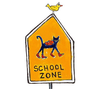 Image from Pete book: Street sign says School Zone with a picture of a cat walking.
